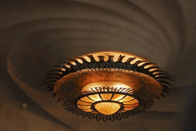 The ceiling lamp in Batllo house. Barcelona. Spain stock photo
