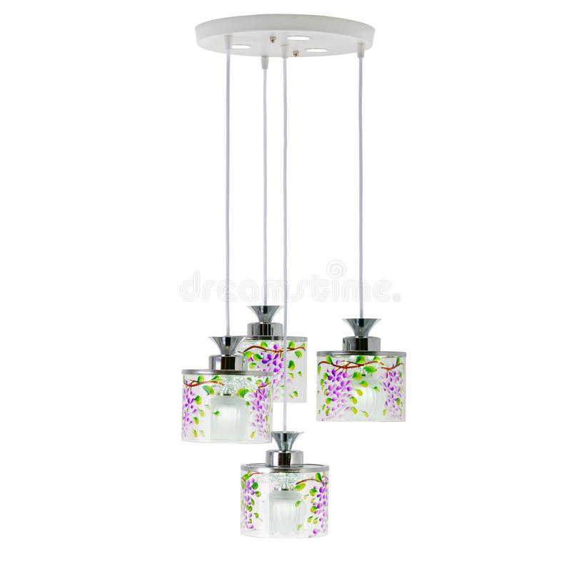 Ceiling lamp with four hanging lights royalty free stock photography