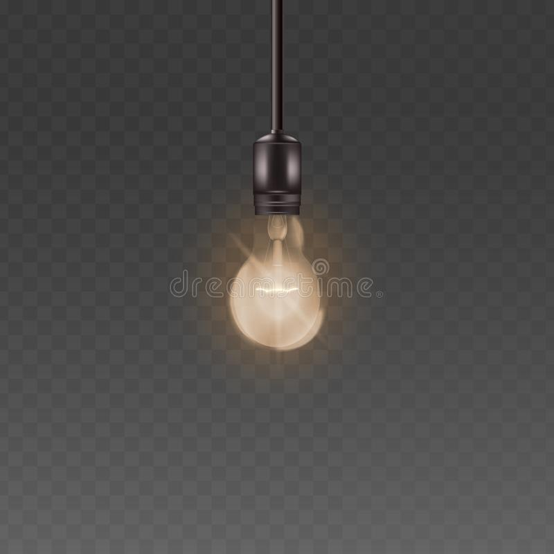 Ceiling lamp light bulb with bright warm light, realistic loft style glass lightbulb with electricity and glowing wire stock illustration