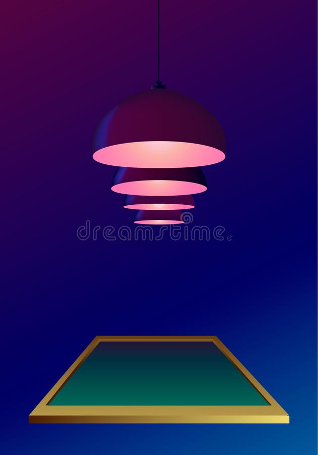 Ceiling lamps or bulbs hang and shine over a pool table in realistic style. Dark blue background. Poster invitation template for a. Billiard game championship stock illustration