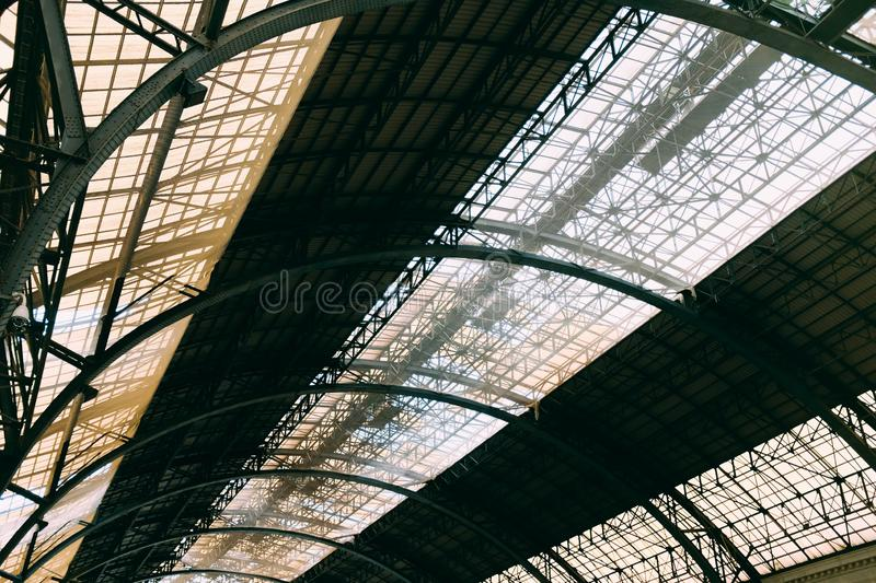 Ceiling of a large European train station stock photos