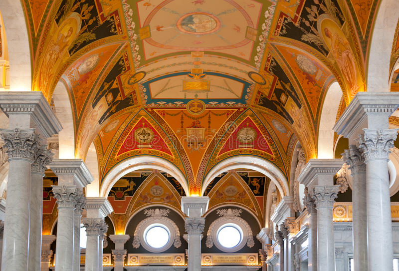 Ceiling of Library Congress in Washington DC royalty free stock photos