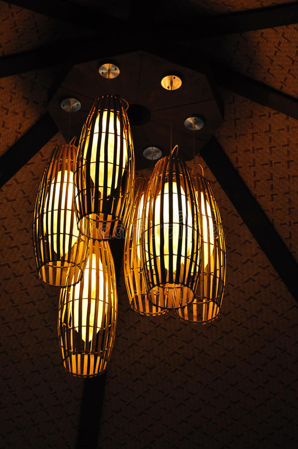 Ceiling Light with Bamboo Cane Light Shade royalty free stock images