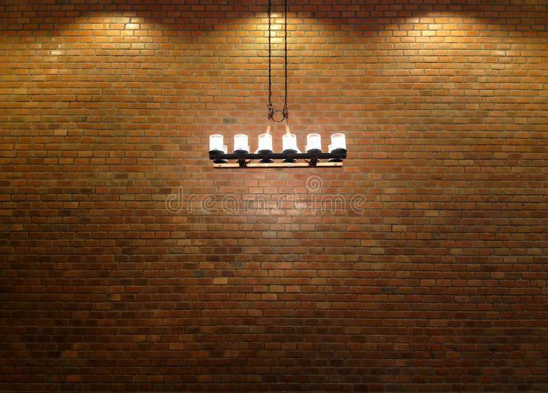 Ceiling light and brick wall. vintage design for restaurant. stock photography
