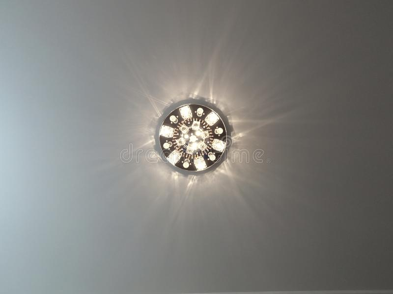 Ceiling light glows. H d stock photo