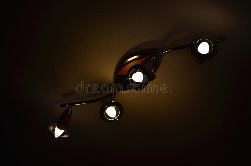 Ceiling light with LED bulb, South Bohemia. Czech Republic royalty free stock photos