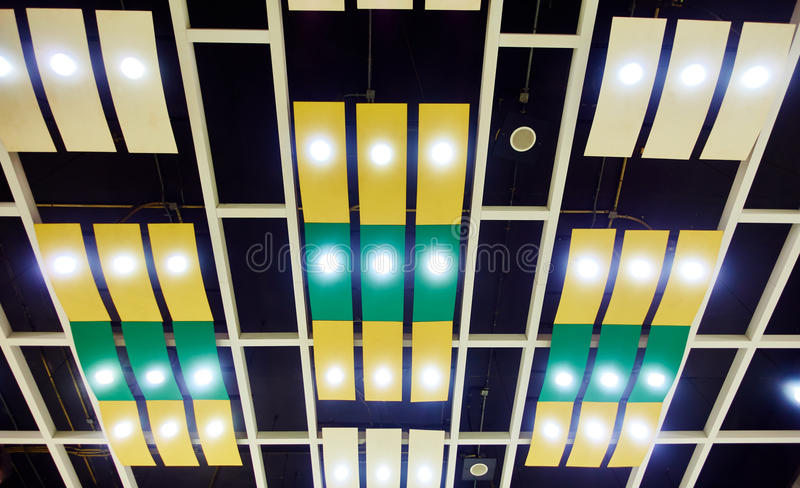 building ceiling with LED lighting royalty free stock photography