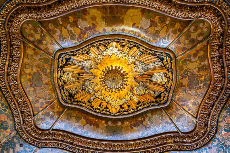 Ceiling in the lobby of El Capitan Theatre in Los Angeles, CA. Los Angeles, California, United States of America - January 9, 2017. Ceiling in the lobby of El royalty free stock images