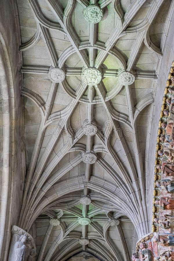 Ceiling, Medieval Gothic architecture inside a cathedral in Spain. Stones and beautiful ashlars forming a dome royalty free stock photography