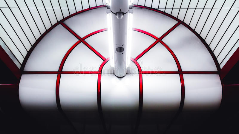 Ceiling in the metro station at Munich Ostbahnhof. stock photo