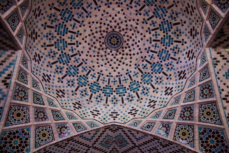 Ceiling, nasir al-mulk mosque, shiraz, iran stock photos