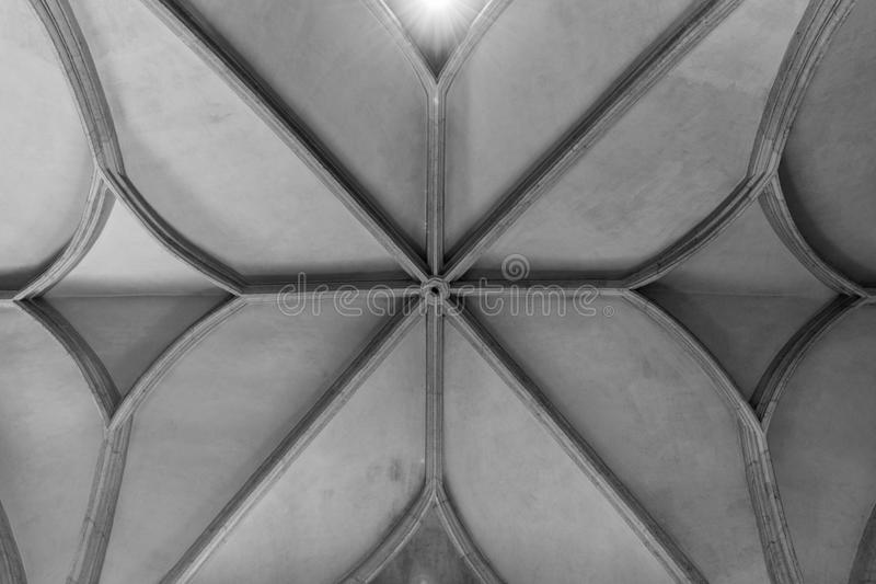 Ceiling in nave of St. Martin`s dome. In Bratislava stock photography
