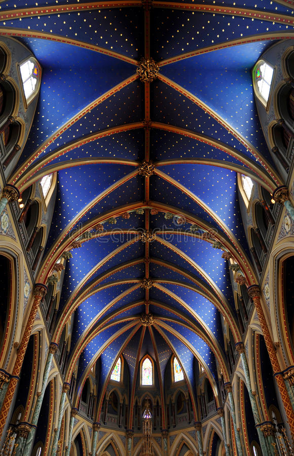 Ceiling of Notre-Dame Cathedral Basilica, Ottawa stock image