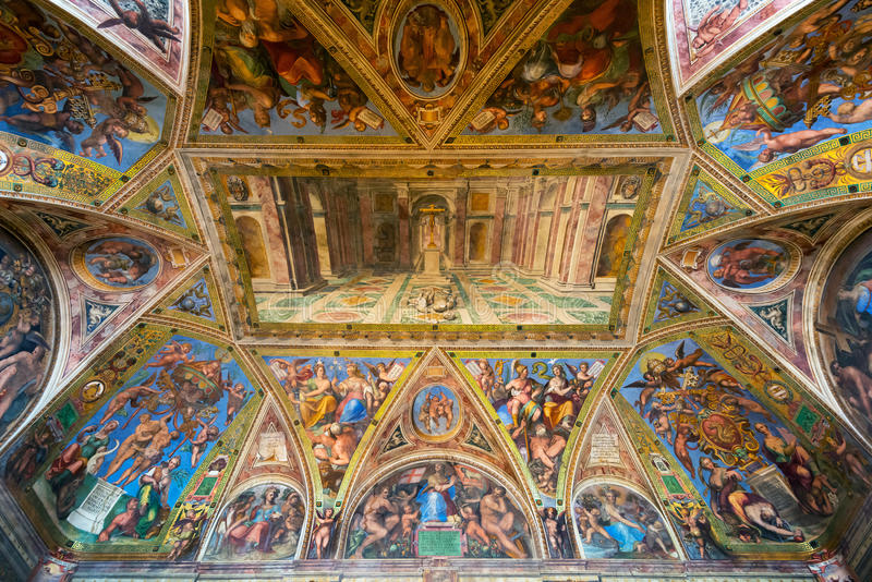 The ceiling in one of the rooms of Raphael in the Vatican Museum royalty free stock photo