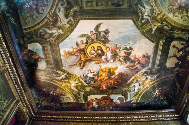 Ceiling in the Painted Hall, Old Royal Naval College, Greenwich, London stock photography