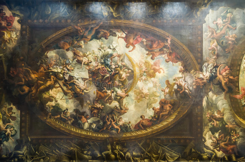 Ceiling at Painted Hall royalty free stock photos