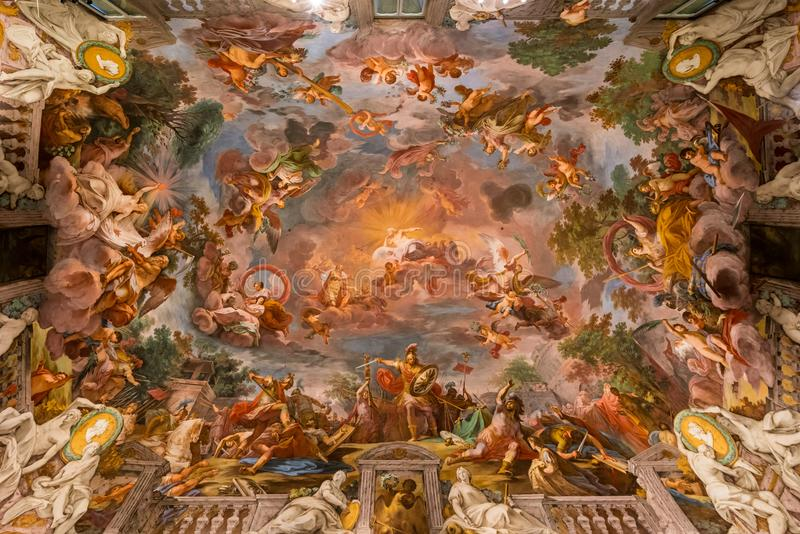 Ceiling painting in the Galleria Borghese royalty free stock photography