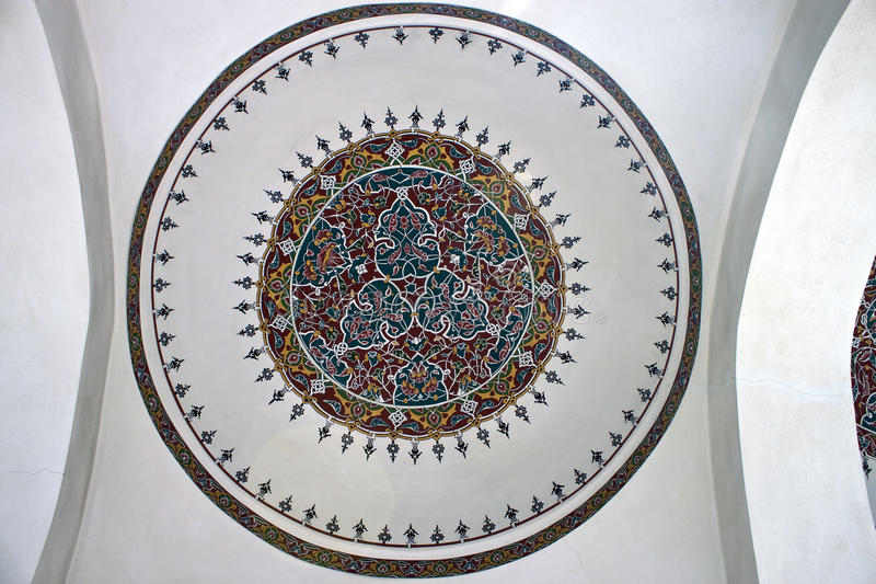 Ceiling painting in little Hagia Sofia stock photography