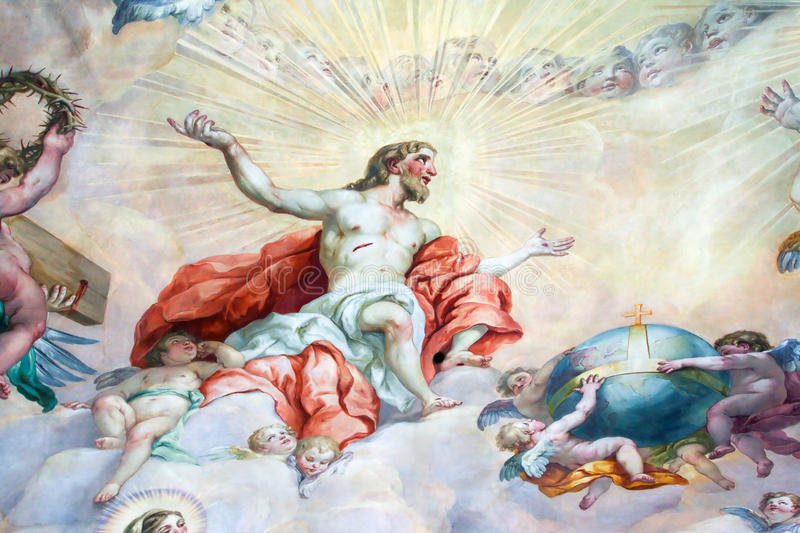 Ceiling painting in the religious version. stock photo