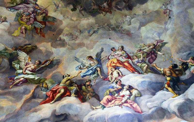 Ceiling painting in the religious version. stock photos