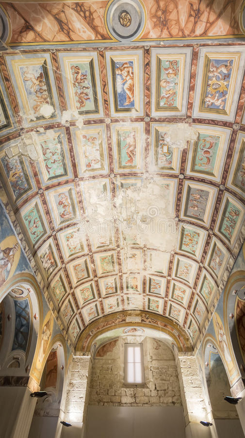 Ceiling paintings of the chapel of the Hospital de Santiago, Ubeda, Spain royalty free stock image