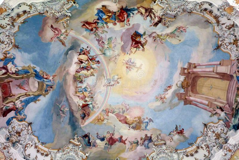 Ceiling of The pilgrimage church of Wies , Germany. royalty free stock image