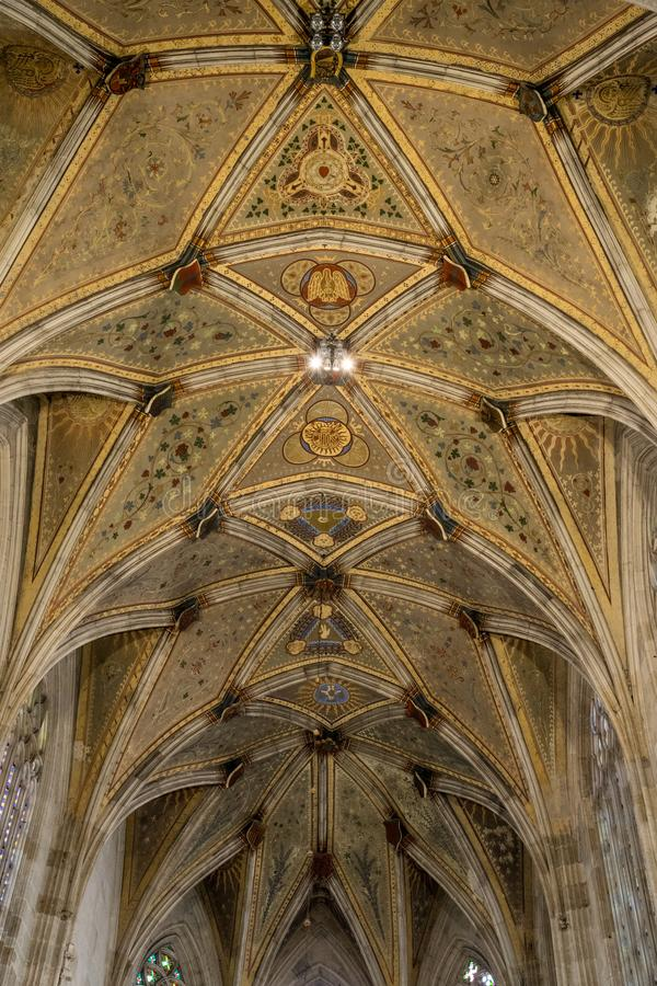 Ceiling in presbytery of St. Martin`s Dome. In Bratislava royalty free stock image