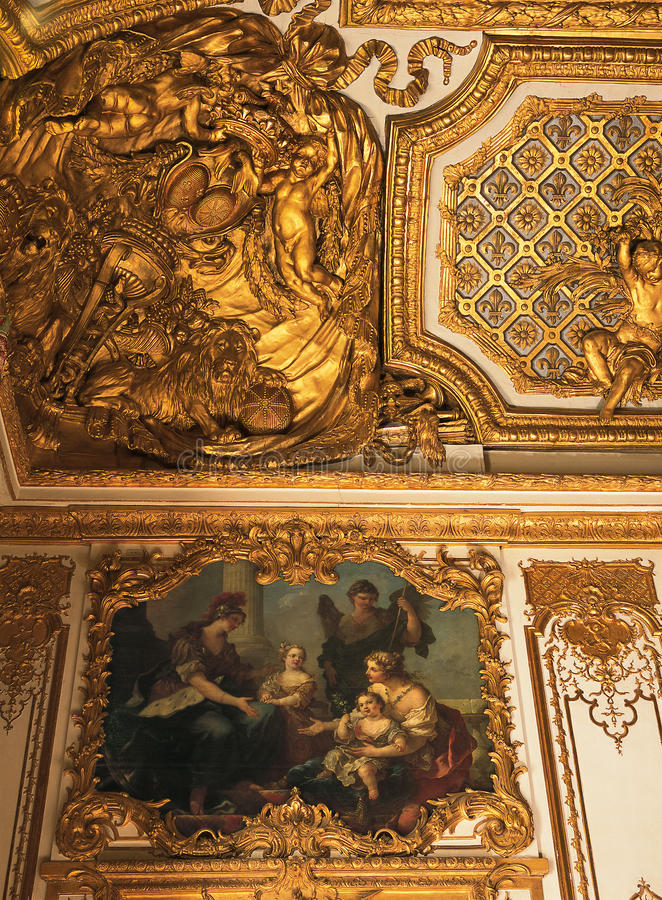 Ceiling from Queen Marie Antoinette bedroom at Versailles Palace stock image