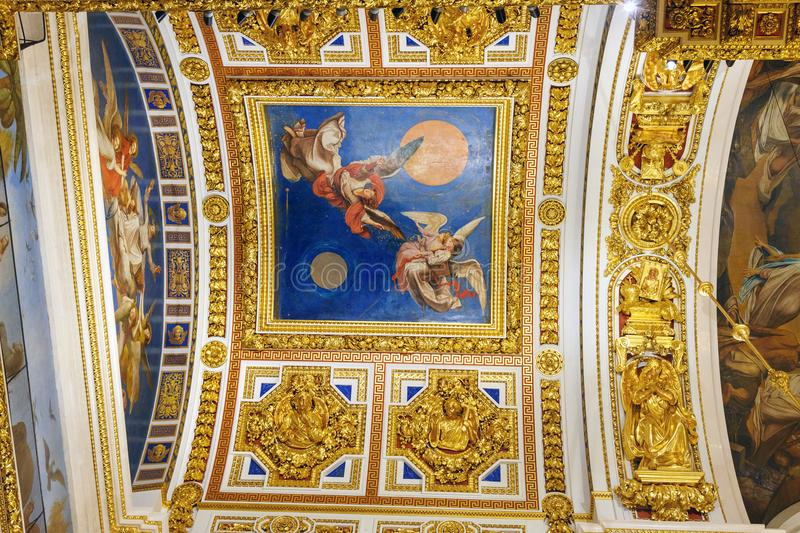 Ceiling of Saint Isaac`s Cathedral or Isaakievskiy Sobor in Saint Petersburg. Russia. Saint Petersburg, Russia - January 6, 2018: Ceiling of Saint Isaac`s royalty free stock photography