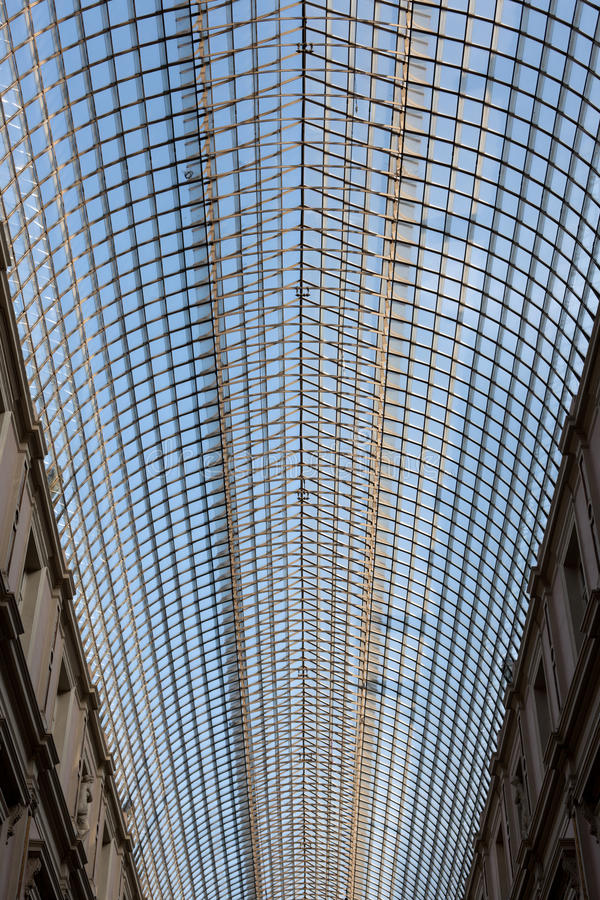 Ceiling of Shopping Gallery. Shopping Gallery in Brussels, Belgium stock photography