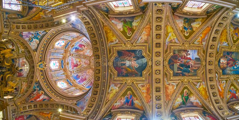 The ceiling of St George Basilica, Victoria, Gozo, Malta. VICTORIA, MALTA - JUNE 15, 2018: The masterpiece Baroque vault and dome of St George Parish Church royalty free stock photo