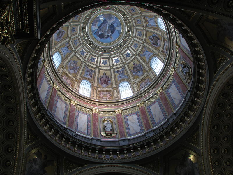 Ceiling Of The St. Stephen Church In Budapest Stock Images