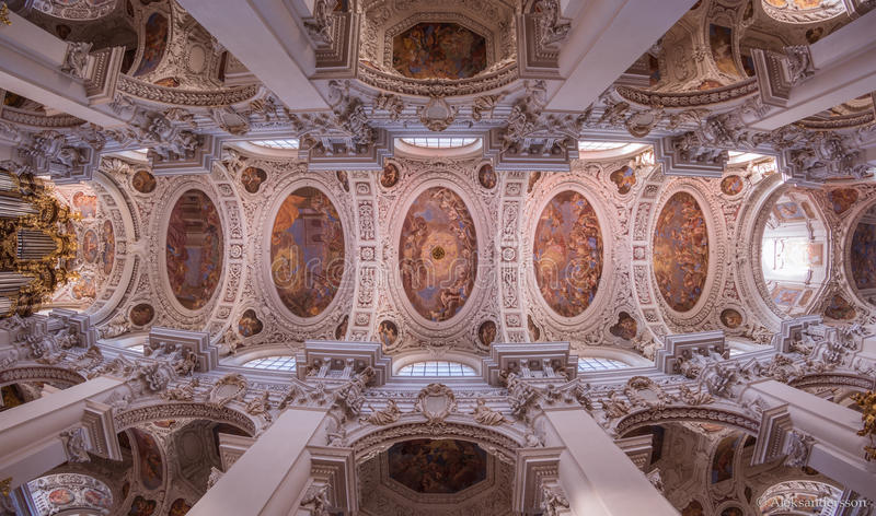Ceiling of Stephen Church in Passau, Germany. stock image