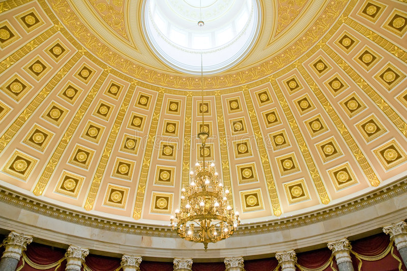 Ceiling in US Capitol Washington stock photo