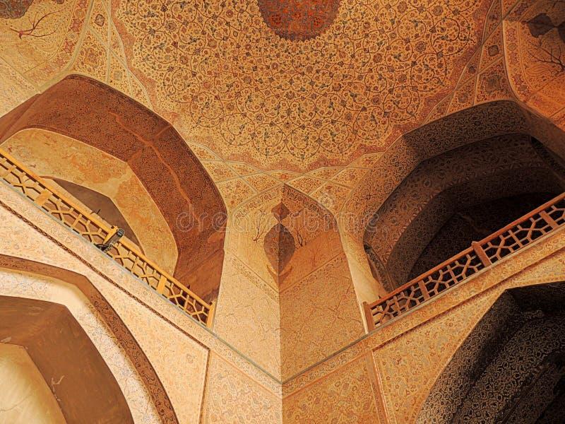 Ceiling and verandas by Ali Qappu Isfahan palace entrance. Ceiling and verandas by the entrance of the Ali Qappu palace of the Safavid empire in Isfahan stock photos