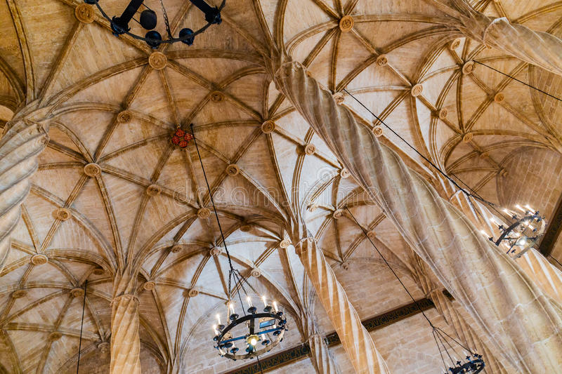 Ceiling view of the Silk Exchange in Valencia royalty free stock photo
