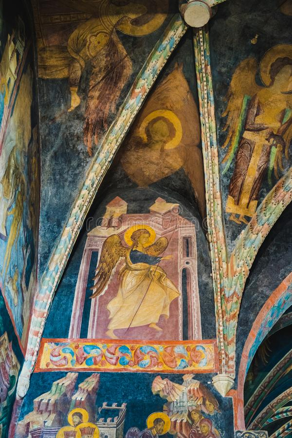 Ceiling and wall frescoes of Chapel of the Holy Trinity in Lublin, Poland stock images