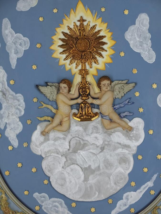 Free Ceiling With Angels Inside City Church Igreja Matriz Da Fuseta At The Algarve Coast Of Portugal Stock Photography - 215742672