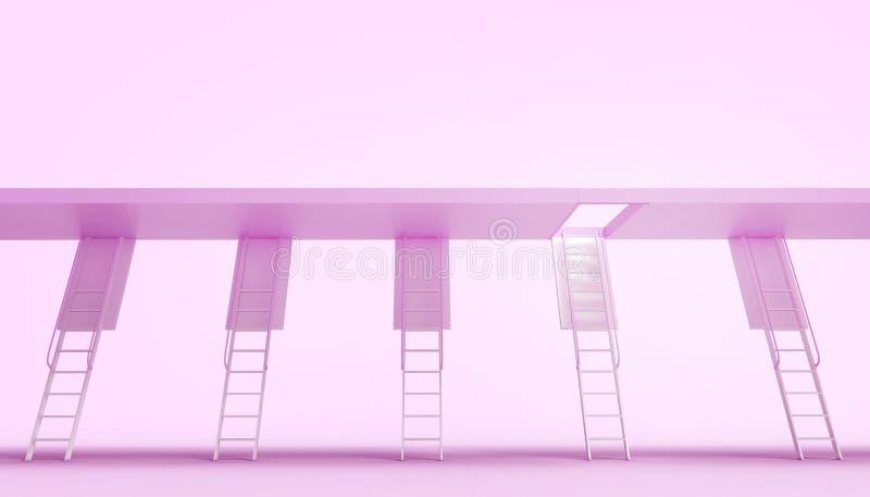 Ceilladder - modern och enkel trappa för trappa i begreppet av affärsomformning i purpurfärgad bakgrund royaltyfri illustrationer