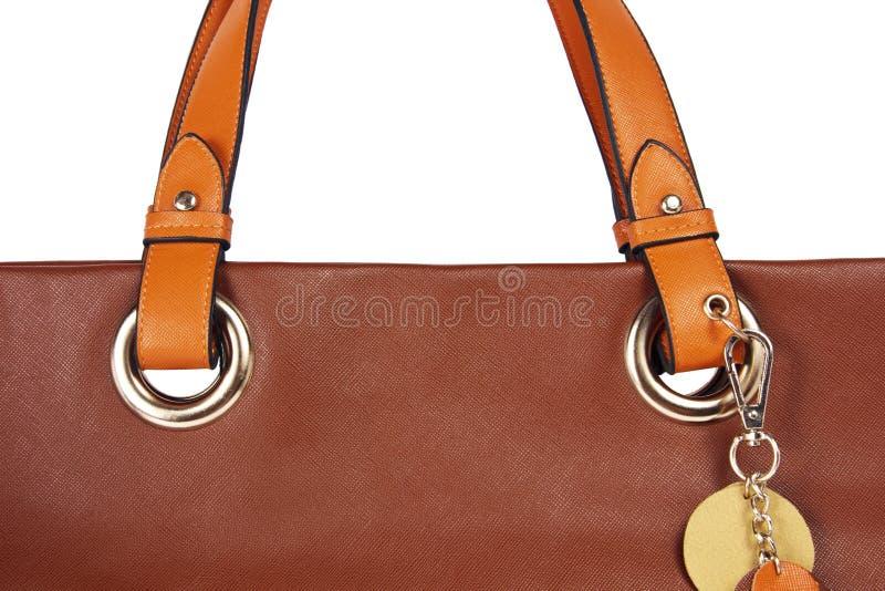 Ceinture brune de sac en cuir de femmes image libre de droits