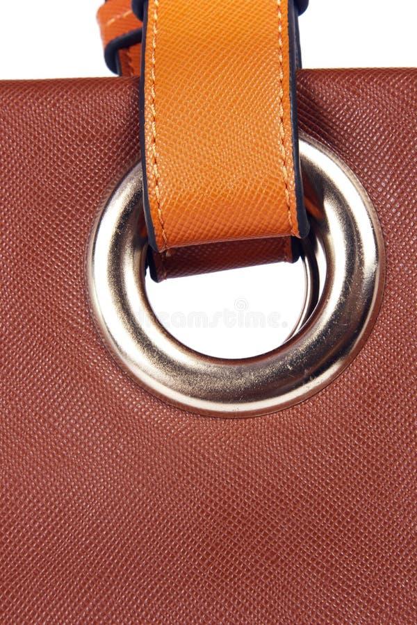 Ceinture brune 2 de sac en cuir de femmes photographie stock libre de droits