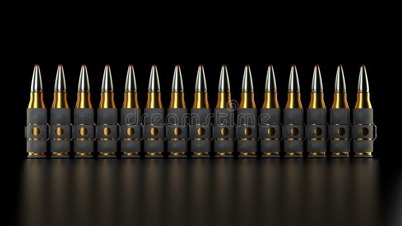 Ceinture de balle de mitrailleuse, fond noir, photo stock