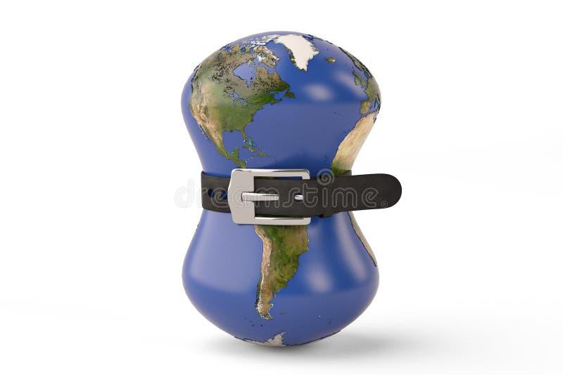 Ceinture de la terre de planète serrant la crise financière globale illustra 3D illustration libre de droits