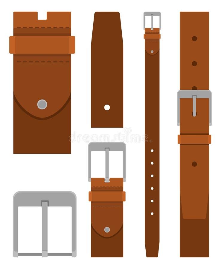 Ceinture en cuir de Brown avec la boucle d'isolement sur le fond blanc Élément de conception d'habillement Pantalon de ceinture d illustration de vecteur