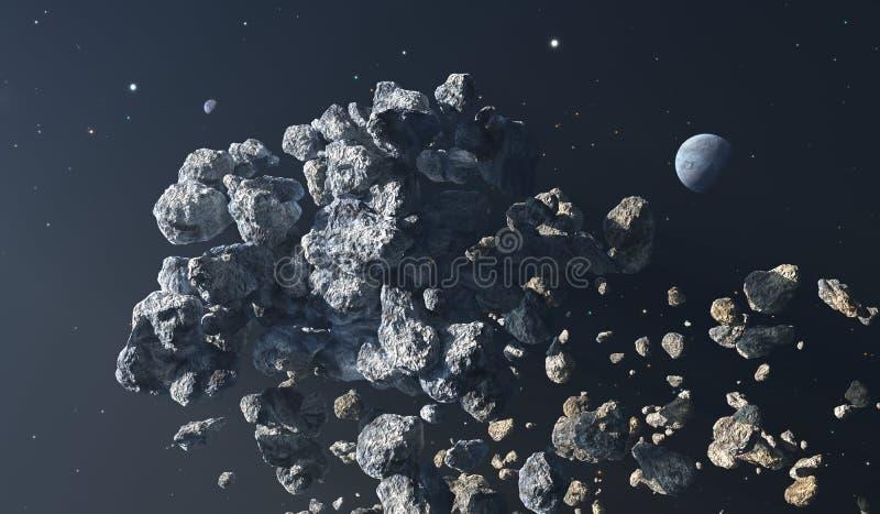 Ceinture en forme d'étoile Comètes et asteroïdes au bord de notre système solaire illustration de vecteur