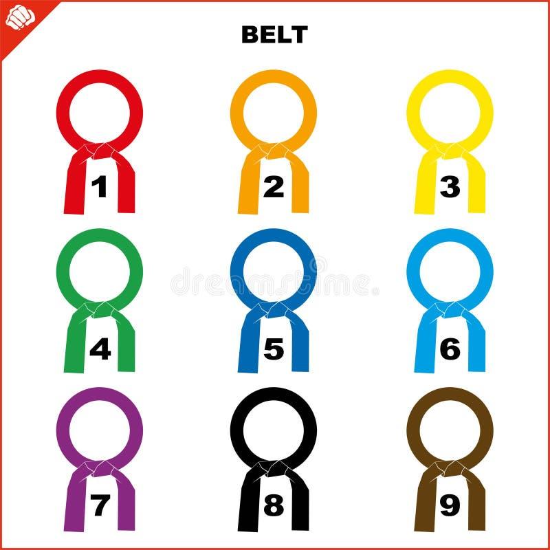 Ceintures colorées pour l'ensemble de kimono d'arts martiaux, karaté de dogi, bjj, judo, le Taekwondo, hapkido, karaté illustration libre de droits
