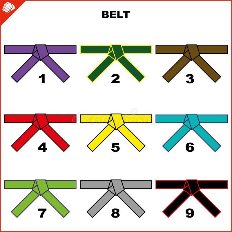Ceintures colorées pour l'ensemble de kimono d'arts martiaux, karaté de dogi, bjj, judo, le Taekwondo, hapkido, karaté illustration stock