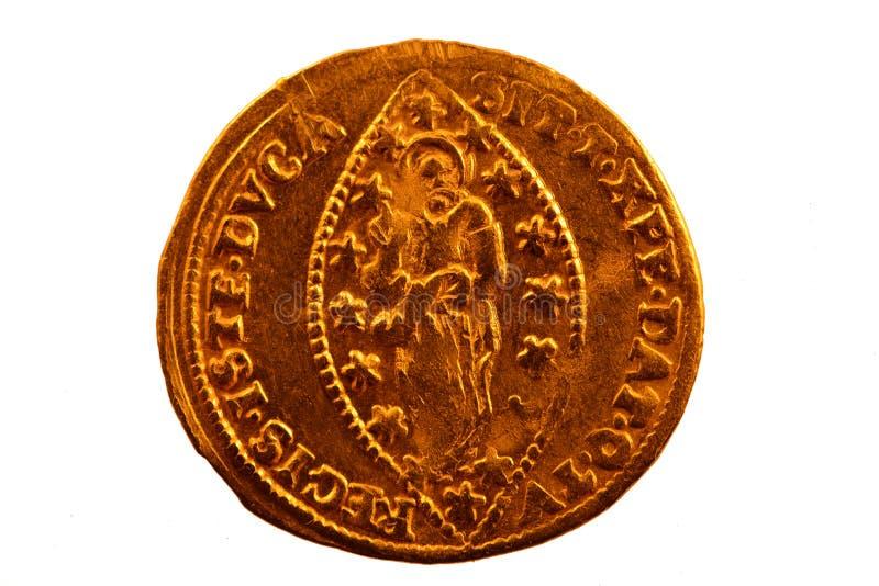Cekin - Zecchino - Złocista moneta Wenecja obrazy royalty free