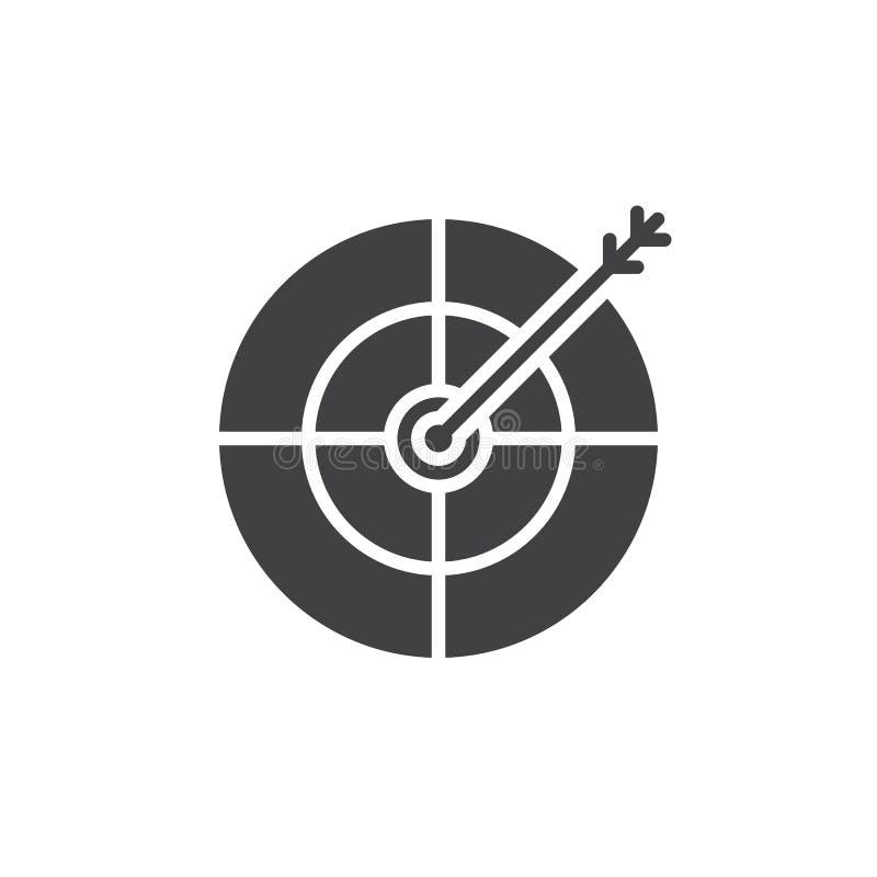 Cel, bramkowy ikona wektor, wypełniający mieszkanie znak, stały piktograma isol royalty ilustracja