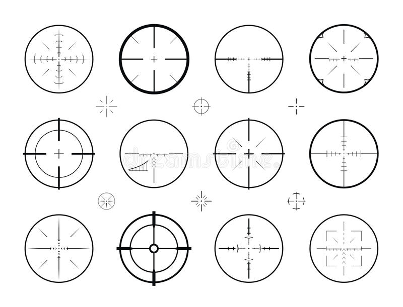 Cel, celowniczy snajperski ustawiający ikony Tropiący, karabinowy zakres, crosshair symbol również zwrócić corel ilustracji wekto ilustracji